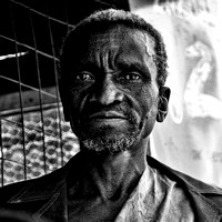 black and white portrait of an african Old Man in Tanzania